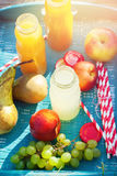 Juice Different Colors Bottles Fruits Picnic Party Royalty Free Stock Image