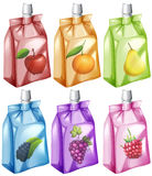 Juice with different flavour in the bag. Illustration Stock Image