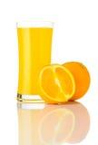 Juice Drink arancio urgente fresco su bianco Fotografie Stock Libere da Diritti