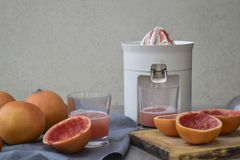 Juice extractor or juicer and fruits on gray background. royalty free stock photo