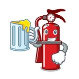 With juice fire extinguisher mascot cartoon. Vector illustration Stock Photo