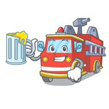 With juice fire truck mascot cartoon. Vector illustration Royalty Free Stock Images