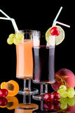 Juice and fresh fruits Stock Image