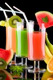 Juice and fresh fruits - organic, health drinks se Royalty Free Stock Photo