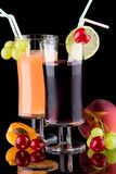 Juice and fresh fruits - organic, health drinks se royalty free stock image