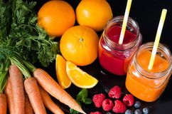Juice from fresh fruits and vegetables Royalty Free Stock Image