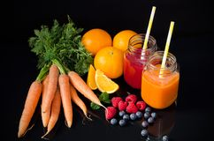 Juice from fresh fruits and vegetables Royalty Free Stock Photos