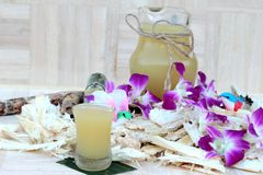 Juice of fresh sugar cane for drinks and sugar. Royalty Free Stock Photo