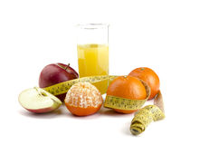 Juice with fruit. On a white background Royalty Free Stock Images