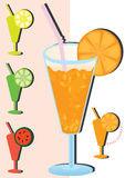 Juice Fruit_eps. Illustration of orange juice and silhouette symbol include Lemon, lime, watermelon and orange Stock Image