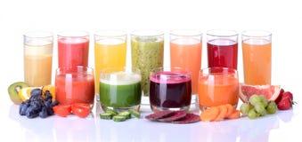 Juice. Fruit juice ( grape , strawberries , orange , kiwi )  Isolated on white background Royalty Free Stock Photo