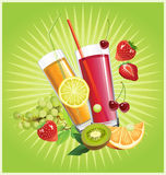 Juice and fruits. Royalty Free Stock Photos
