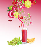 Juice and fruits Stock Photos