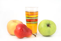 Juice and fruits. On white background Stock Photography
