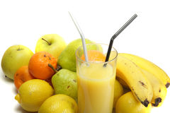 Juice and fruits. Orange juice and fruits isolated over white Stock Images