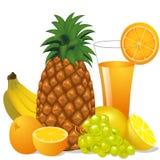 Juice and fruits banana pineapple orange grape Stock Photos