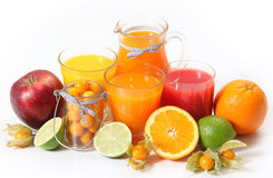 Juice and fruits Royalty Free Stock Images