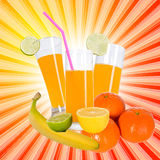 Juice and fruits on textured background Stock Images