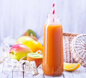 Juice. From fruits and vegetables in bottle Royalty Free Stock Photos