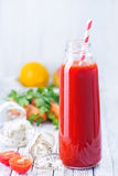 Juice. From fruits and vegetables in bottle Stock Photos