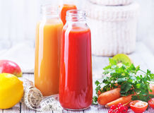 Juice. From fruits and vegetables in bottle Stock Photography