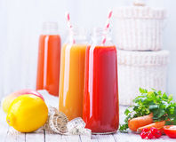 Juice. From fruits and vegetables in bottle Royalty Free Stock Photography