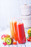 Juice. From fruits and vegetables in bottle Royalty Free Stock Photo