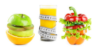 Juice with fruits and vegetables Royalty Free Stock Photography