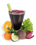 Juice. Glass with beetroot juice on white background Stock Photo