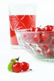 Juice glass with berry. Healthy beverage Royalty Free Stock Photography