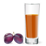Juice glass and plums Royalty Free Stock Photos