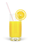 Juice in glass with straw and lime Royalty Free Stock Images