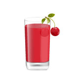 Juice in Glass with Two Cherries Royalty Free Stock Images