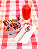 Juice and ice cream Royalty Free Stock Photos