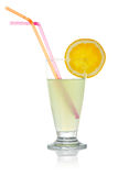 Juice with a lemon slice and straws Stock Photo