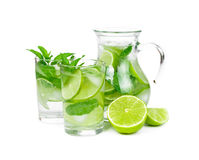 Juice with lime and mint Stock Photo