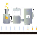 Juice Machine. Vector illustration of a juice making machine with assembly line Stock Photo