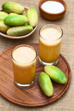 Juice Made of Banana Passionfruit (lat. Passiflora Tripartita) Stock Photo