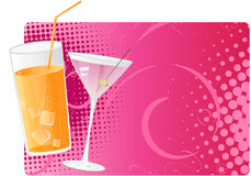 Juice and martini on pink halftone background. Juice and martini cocktails on pink halftone background Stock Photo