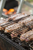 Juice meat steak in grilled barbecue Royalty Free Stock Images