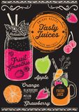 Juice menu restaurant, drink template. Juice and smoothie restaurant menu. Vector drink flyer for bar and cafe. Design template with hand-drawn fruit stock illustration