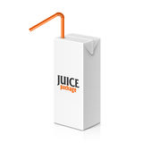 Juice or milk box with drinking straw Royalty Free Stock Image