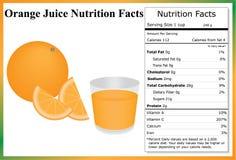 Juice Nutrition Facts anaranjado Imagen de archivo