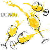 Juice orange and apple splashes in wine glasses, watercolor, sketch vector illustration Stock Image