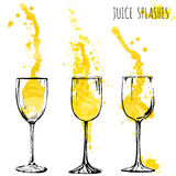Juice orange and apple splashes in wine glasses, watercolor, sketch vector illustration Stock Photos