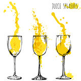 Juice orange and apple splashes in wine glasses, watercolor, sketch vector illustration Stock Image