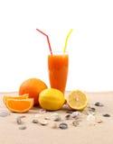 Juice orange lime shells on sand. White background stock image