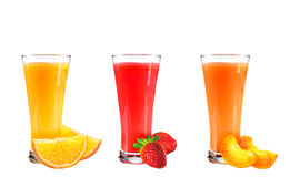 Juice from orange, strawberry and a peach Stock Photo