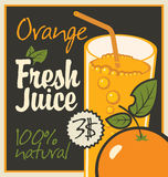 Juice orange. Vector banner with orange and a glass of juice Stock Image