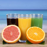 Juice from oranges, kiwi and grapefruit at the sea Royalty Free Stock Photos